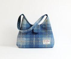 Harris Tweed Bag / Eco Friendly Blue Check by MyCottonHouse