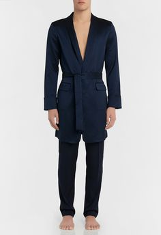 This season the classic robe has been subtly elevated by way of our sophisticated silk jacquard fabrication, specially woven for La Perla in Italy. Offered here in blue, this mid-length cover-up features a shawl collar and turn-back cuffs. Lingerie, Mid Length, Cover Up, Jumpsuit, Silk, Fabric, Dresses, Fashion, Beach Fashion