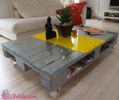 Mesa de centro com Pallet Cinza e Amarelo                                                                                                                                                                                 Mais
