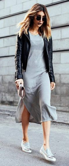 cool outfit: jacket + dress + sneakers