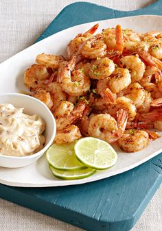Shrimp with chile and lime mayo- Shrimp lovers are so easy to please! A little chili-lime mayo, some garlic—before you know it, everyone is delighted.