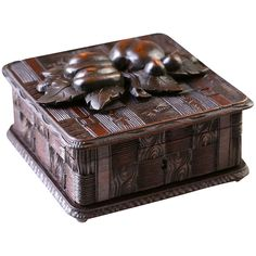 "7""x7"" Hand Carved Antique Black Forest wood jewelry box, trinket casket, Shop Rubylane.com"