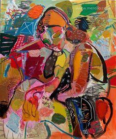 """José Manuel Merello.-""""Mujer con corazones""""-Art contemporain moderne.Peintres espagnols Art actuel peinture. Tableaux d artistes contemporains. Art, luxe, Passion. Couleur et Decoration.Investissement."""