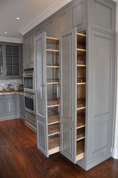 55 Kitchen storage ideas - pantry organisation, small kitchen storage Diy Kitchen Storage, Kitchen Cabinet Organization, Kitchen Cabinet Design, Kitchen Interior, Cabinet Storage, Apartment Kitchen, Cabinet Ideas, Pantry Storage, Hidden Storage