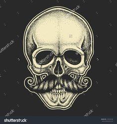 Dotwork Styled Skull With Moustache. Hand Drawn Illustration. T-Shirt Design. - 419520160 : Shutterstock