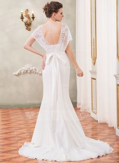 Trumpet/Mermaid Sweetheart Court Train Chiffon Charmeuse Lace Wedding Dress With Beading Sequins Bow(s) (002052652)