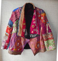 Boho Embroidery refashion used jacket by covering with special fabrics and stitching. Pearl Red Moon Art: second make for November Quilted Clothes, Sewing Clothes, Diy Clothes, Altered Couture, Fabric Art, Silk Fabric, Red Moon, Sewing Art, Vintage Embroidery