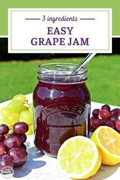 Easy Grape Jam is the easiest grape jam recipe you'll find – no peeling grapes here and no pectin! With a taste that's out of this world, this really is a jam recipe you'll be making time and again. It's the best and most detailed Grape Jam recipe on the internet! No wonder it's so popular! Grape Recipes, Jelly Recipes, Jam Recipes, Budget Recipes, Grape Jam Recipe No Pectin, Strawberry Jam Recipe, Marmalade Recipe, Fruit Preserves, Jam And Jelly