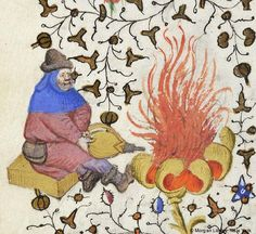Man, wearing hat and hood, with purse at waist, seated on bench or box, holding with both hands, bellows aimed at fire in large flower; reverse image of man before fire | Book of Hours | France, Paris | ca. 1425-1430 | The Morgan Library & Museum