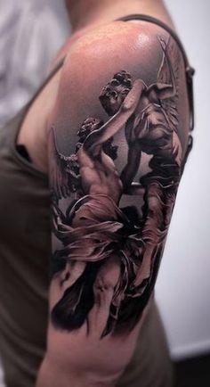Angel Of Death Tattoo, Angel Sleeve Tattoo, Angel Back Tattoo, Fallen Angel Tattoo, Baby Angel Tattoo, Realistic Tattoo Sleeve, Guardian Angel Tattoo, Sleeve Tattoos, Wing Tattoo Designs