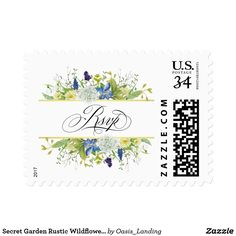 Secret Garden Rustic Wildflowers RSVP Postage - Secret Garden Rustic Wildflowers RSVP Postage This lovely boho-style RSVP postage stamp is designed with delicate wildflowers in mixed watercolor hues of purple, blue, yellow, and white with vine-like greenery and forest twigs as accents. A suite of matching products is available to carry out your garden theme. Sold at Oasis_Landing on Zazzle.