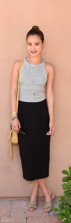 Jamie Chung wearing the Forever 21 Ribbed Knit Halter Top, similar to the Ribbed Halter Top ($13).