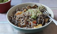 Noodles with coconut and coriander pesto