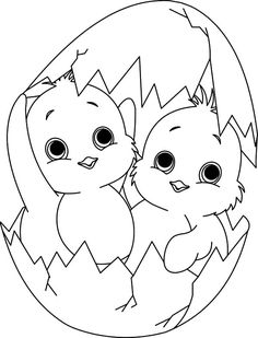 Baby Chick, : A Twin Baby Chick Coloring Page Make your world more colorful with free printable coloring pages from italks. Our free coloring pages for adults and kids. Cute Coloring Pages, Animal Coloring Pages, Printable Coloring Pages, Coloring Pages For Kids, Coloring Books, Free Coloring, Coloring Easter Eggs, Easter Coloring Pictures, Easter Art