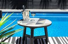 Mosaic Cement Tiles Monochrome  FSC timber   Homewares Side Tables, decor, designer mosaic, contemporary mosaic.bar table. dry bar. trending cocktail entertaining terrace garden pool swim splash outdoor