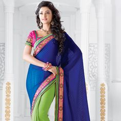 Blue and Green Faux Georgette jacquard and Art Silk Saree with Blouse