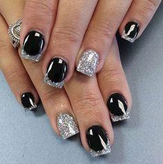 silver and black glittery nail art