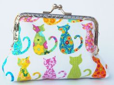 Colourful cat purse by Tresgats on Etsy, $10.00