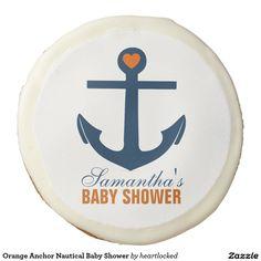 Orange Anchor Nautical Baby Shower Sugar Cookie