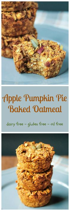 Healthy Apple Pumpkin Pie Baked Oatmeal Bites - the perfect fall breakfast or grab-n-go snack! Makes a great lunch box addition too! Oatmeal Bites, Oatmeal Cups, Baked Oatmeal, Baked Oats, Oatmeal Muffins, Mini Muffins, Oatmeal Scotchies, Oatmeal Yogurt, Overnight Oatmeal