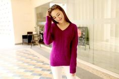 Lafarvie SWETER 100% Mink Cashmere Sweater Women V-Neck Sweaters & Pullovers Pure Mink Cashmere Knitted Pullover Ladies Sweater