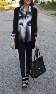 striped blouse with black cardigan - www.lovelucygirl.com