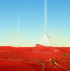 superphazed: Another landscape drawing inspired by Moebius :)Featuring me and my cat Cloud