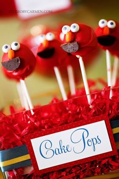 Elmo cake pops - idea for Red Nose Day bake-off me thinks! Cake Pops, Elmo Birthday, 2nd Birthday Parties, Birthday Ideas, Birthday Cake, Monster 1st Birthdays, Elmo Cake, Elmo And Cookie Monster, Sesame Street Party