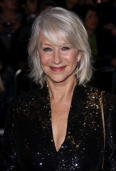 Helen Mirren decided to embrace her graying hair but did it with such class.  Dull hair makes you look older so she added subtle highlights in her hair in an effort to give her hair dimension and shine. Combined with her free flowing locks and her beautiful bangs she is rocking her gray hair.