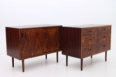 Pair of units in rosewood. Cabinet with sliding doors and drawer. Designed and produced in the 1960s by Lyby Møbler, Denmark. www.reModern.dk