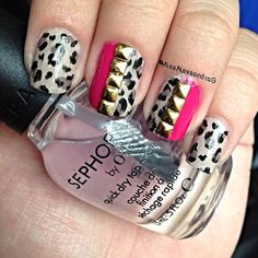 studs, leopard and pink nail art