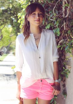Pink shorts and white button-down