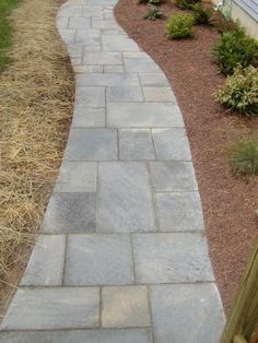 blue stone front walk// Nice, but needs to be a little wider.
