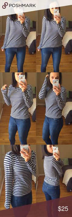 """J.Crew Navy & Gray Striped Long Sleeve Painter Tee Navy and gray long sleeve Painter Tee, great option for pairing and layering or stand alone! Like new - no signs of wear.  Measurements (taken lying flat): 24"""" length 16"""" bust 24"""" sleeve length from shoulder  Materials: 100% cotton  🚫Trades J. Crew Tops Tees - Long Sleeve"""