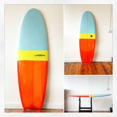 Custom Mini Simmons for @philistehfuture. Moon tail 3 colour resin tint polished transparent orange and matte blue and yellow nose. #visionary #custommade #minisimmons #sufboard #resintint #resinart #shiny #knowyourshaper #madeinengland #madetoorder http://ift.tt/19MEsb6