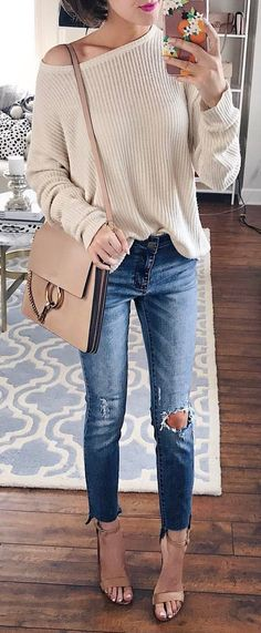 #spring #outfits Today's Comfy Look  // Ivory Off The Shoulder Knit + Destroyed Skinny Jeans + Nude Sandals