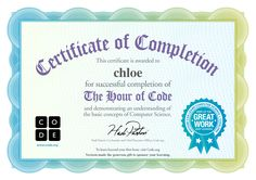 Certificate for chloe