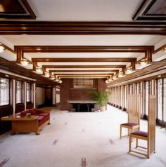 Frank Lloyd Wright's Robie House living room .