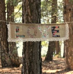 """handmade burlap and lace sign """"love"""""""