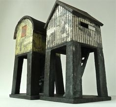 stilted structures - raku each Clay Houses, Ceramic Houses, Paper Houses, Miniature Houses, Ceramic Clay, Crooked House, Pottery Houses, Fairy Houses, Little Houses