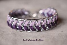 Bracelet gourmette et suédine parme et violette