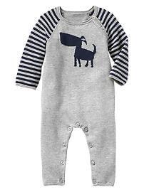 Intarsia dog sweater one-piece- baby gap