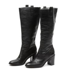 65be18cf626 Banana Republic Black Grained Leather Tall Boots