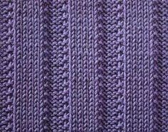 Raised Ribs I.  An easy knitting stitch with wide raised stockinette ribs.