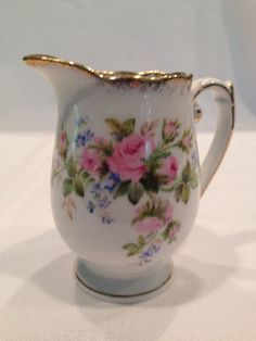 Roslyn Fine Bone China Creamer Moss Rose Pattern