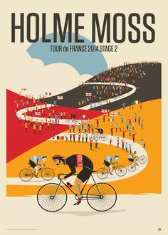 Poster for the second stage of the Tour de France. Bike Poster, Poster Art, Bicycle Print, Bicycle Race, Velo Vintage, Vintage Bicycles, Bike Illustration, Retro Bike, Word Pictures