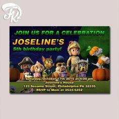 Paw Patrol Halloween Design Birthday Party Card Digital Invitation birthday card party for boys and girls.