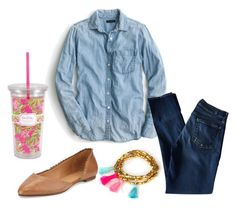 """""""Untitled #181"""" by msherer on Polyvore featuring J.Crew, 7 For All Mankind, Feather & Stone, Jack Rogers, women's clothing, women, female, woman, misses and juniors"""