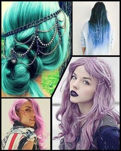 Green, pink, violet, blue and black hair colors