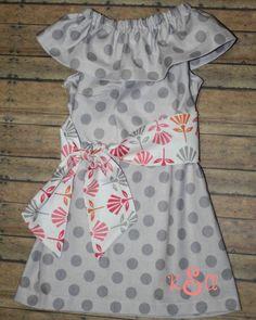 Ruffle Dress with Sash-Riley Blake Fabrics